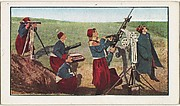 Card No. 220, Zouaves in Battle with a German Aeroplane, from the World War I Scenes series (T121) issued by Sweet Caporal Cigarettes