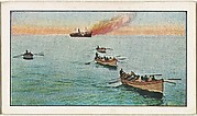 Card No. 221, How a British Warship Sank a German Steamer in the High Seas, from the World War I Scenes series (T121) issued by Sweet Caporal Cigarettes