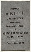 Facsimile of card verso from the Animals of the World series (T180), issued by Abdul Cigarettes