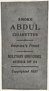 Facsimile of card verso from the Military Uniforms series (T182) issued by Abdul Cigarettes