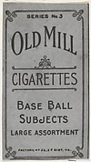 Facsimile of Card Verso, from the Baseball Players (Red Borders) series (T210) issued by Old Mill Cigarettes