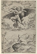The Rape of Ganymede by Jupiter in the guise of an eagle carrying him into the heavens, his dog barking below