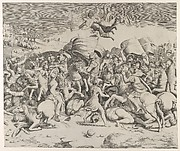Constantine defeating the tyrant Maxentius, angels carrying swords fly above