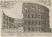 Section and elevation of the Colosseum in Rome
