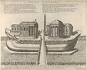 View of the Tiber Island represented as a ship, the Temple of Aesculapius at left