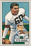 Card Number 2, Otto Graham, Quarterback, Cleveland Browns, from the Bowman Football series (R407-3) issued by Bowman Gum