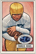 Card Number 24, Francis Rogel, Fullback, Pittsburgh Steelers, from the Bowman Football series (R407-3) issued by Bowman Gum