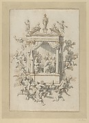 A Group of Men and Women Playing Chamber Music Within a Portico, Surmounted by Statues of Apollo and Female Figures, and Surrounded by Putti