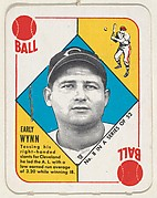 Card  Number 8, Early Wynn, Cleveland Indians, from the Topps Red/ Blue Backs series (R414-5) issued by Topps Chewing Gum Company