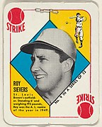 Card  Number 9, Roy Sievers, Outfield, St. Louis Browns, from the Topps Red/ Blue Backs series (R414-5) issued by Topps Chewing Gum Company