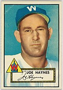 Card Number 145, Joe Haynes, Washington Senators, from the Topps Baseball series (R414-6) issued by Topps Chewing Gum Company