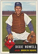 Card Number 255, Dixie Howell, Catcher, Brooklyn Dodgers, from the series Topps Dugout Quiz (R414-7), issued by Topps Chewing Gum Company