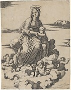 The Virgin and the Christ Child seated on clouds