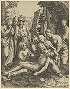 The lamentation of the dead Christ who is supported by the Virgin Mary and surrounded by other figures