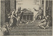 Martha leading Mary Magdalene up a flight of stairs to Christ who is seated at right at the entrance to a temple
