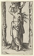 Saint Agatha tied to a tree, her breasts have been cut off, from the series 'Piccoli Santi' (Small Saints)