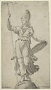 Pallas Athena standing on a globe, holding a spear in her left hand and her shield in her right