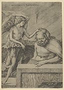 The Guardian Angel: an angel at left placing his hand on the head of a sleeping seated man