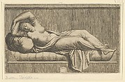 Cleopatra, partly naked laying on a bed