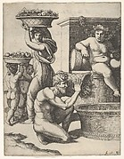 The Vintage; a man pouring grapes from a basket into a vat, above Bacchus sitting, other figures at left