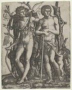 Apollo standing at the left, his hand resting on the shoulder of Hyacinthus, Cupid in the lower right