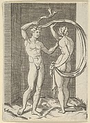 Naked woman viewed from behind holding fabric which billows behind her, looking at naked man standing before her