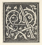 Initial letter A on patterned background