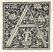 Initial letter A with putto