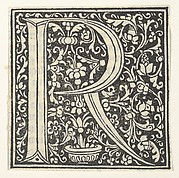 Initial letter R with floral pattern