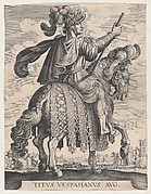 Plate 10: Emperor Titus on Horseback, from 'The First Twelve Roman Caesars' after Tempesta