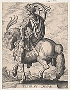 Plate 3: Emperor Tiberius on Horseback, from 'The First Twelve Roman Caesars', after Tempesta
