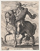 Plate 5: Emperor Claudius on Horseback, from 'The First Twelve Roman Caesars' after Tempesta