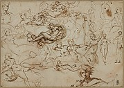 Figure Studies for Various Female and Male Figures (recto); Threes Amors in the Garden of Venus (verso)