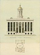 Faade Design and Old Plan for the First Merchant&#39;s Exchange, New York  (unexecuted; front elevation and plan)