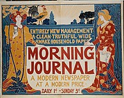ENTIRELY NEW MANAGEMENT· / A CLEAN·TRUTHFUL·WIDE- / AWAKE·HOUSEHOLD·PAPER / MORNING / JOURNAL / A MODERN NEWSPAPER / AT A MODERN PRICE· / DAILY 1¢·–SUNDAY 3¢·