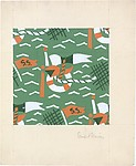 Fabric Design, nautical motif with pennants, life preservers, and rope