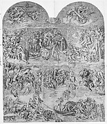 Trumpeting Angels and Damned Souls Being Pulled Down by Devils (lower center and right section of the Last Judgment)