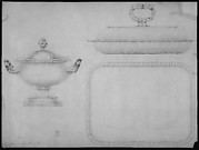 Design for a tea-pot, verso: design for a covered dish and bowl