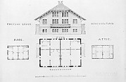 Switz[erland] Cottage (elevation and three plans), and Factory Lodge (elevation and three plans) for Montgomery Place, Annandale-on-Hudson, New York