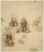 Designs for a Nativity or Adoration of the Christ Child; Perspectival Projection (recto); Slight Doodles (verso)