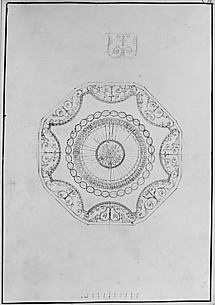 Design for WIthdrawing Room Ceiling at Hagley Park, Staffordshire