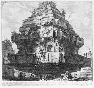 View of a large structure, remains of the Tomb of the Metelli on the Appian Way about five miles from Porta S. Sebastiano, in the village of S. Maria Nuova..., from Le Antichità Romane, tome 3, tavola 15