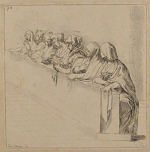 Seven Women Seated Behind a Low Wall