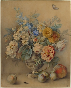 Flowers in a Silver Caster, Fruit in the Foreground