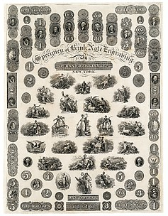 Specimen Sheet of Bank Note Engraving