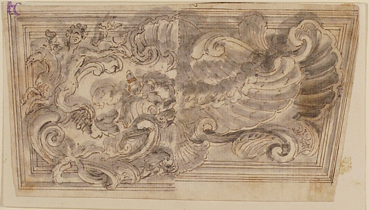 Decorative Panel with Alternative Designs of Shells and a Monster.