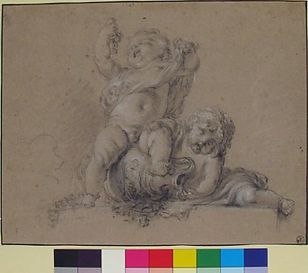Two Putti, One Holding Aloft a Bunch of Grapes