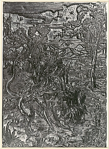 Woodblock for Samson Rending the Lion