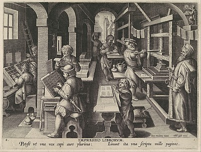 Book printer's shop (Impressio Librorum), from Nova Reperta, plate 4