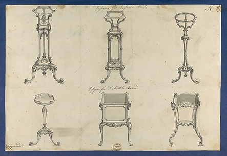 Designs for Basin Stands and Teakettle Stands, in Chippendale Drawings, Vol. I